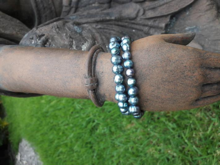 Tahitian pearl and Sterling Silver Bracelet