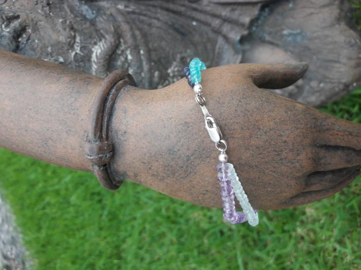 Amethyst iolite apatite and white topaz and Sterling Silver Bracelet