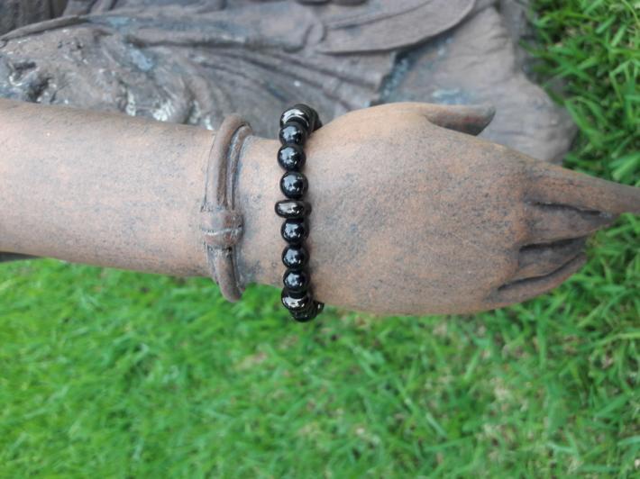Black tourmaline and jet and Sterling Silver Bracelet