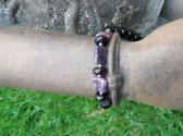 Black tourmaline lepodolite and Sterling Silver Bracelet