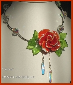 Lampwork Necklace with Swarovski Crystal Beads Christmas Rose