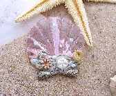 LampworkNecklace Shell Focal Swarovski Crystal