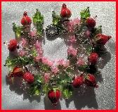Red Roses Valentine Lampwork Charm Bracelet 60 Plus Charms OOAK