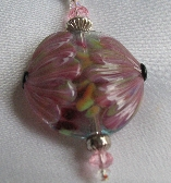 Lampwork Necklace Water Lily   All Sterling Silver   SRAJD