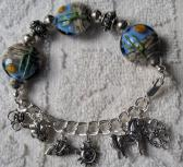 South West Desert Lampwork Bracelet  All Sterling Silvr