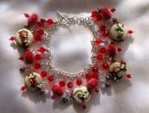 Red Hot Christmas   Lampwork Bracelet  SRAJD
