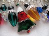 Oh Tannenbaum Christmas Trees and Light Bulbs Lampwork Bracelet SRAJD