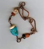 Copper Nugget and Bone Bracelet