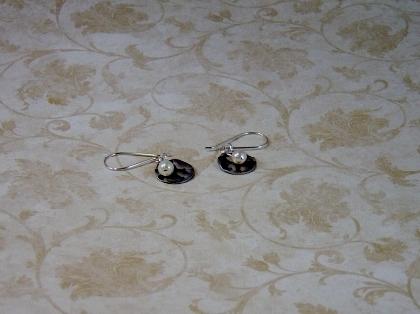 Pearl and Disk Earrings