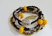 Orange Glass And Seed Bracelet
