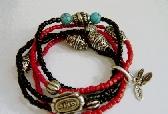 Red And Black Tribal Bracelet