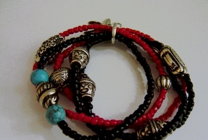Red And Black Tribal Bracelet