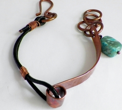 Copper Tubing and Jasper Bracelet
