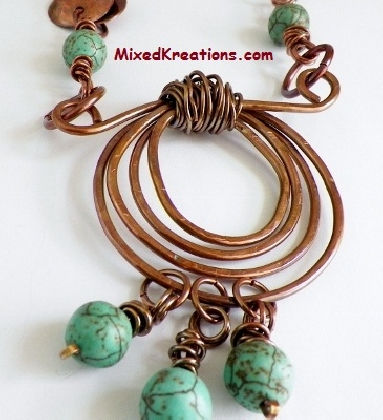 Wrapped Spiral and Howlite Dangles