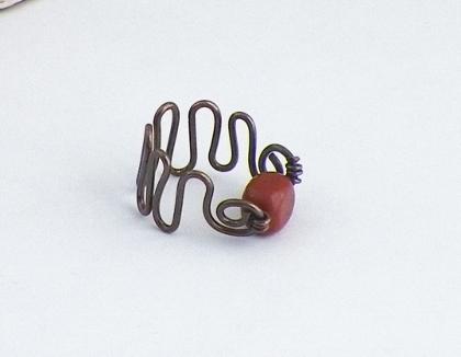 Copper and Jasper ZigZag Ring