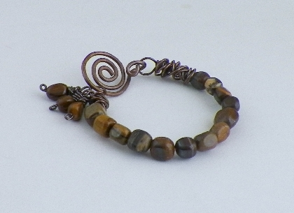 Copper and Zebra Jade Bracelet