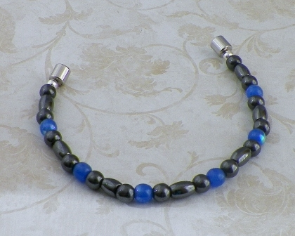 Magnetic Hematite and Blue Glass Bracelet