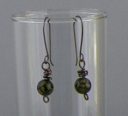 Crackle Agate Round Amber Earrings