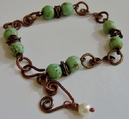 Dainty Copper and Magnesite Bracelet