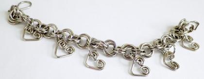 Aluminum Heart Charm Bracelet
