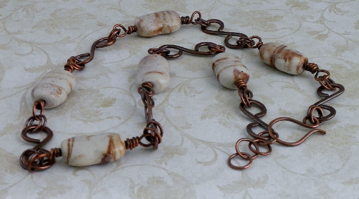 Porcelain Beads and Copper Necklace