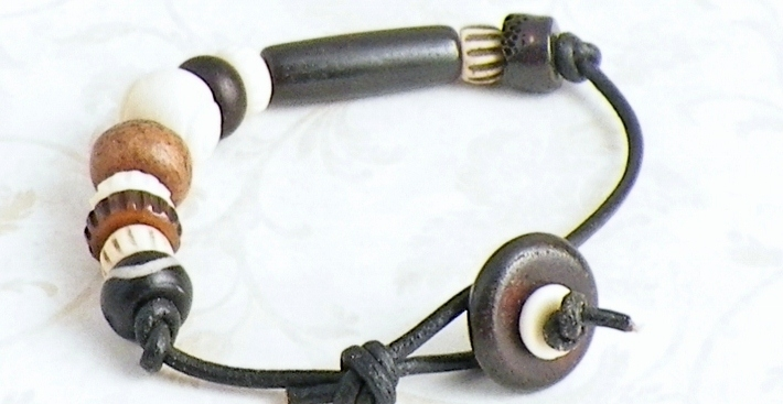 Tribal Bone Leatherette Bracelet