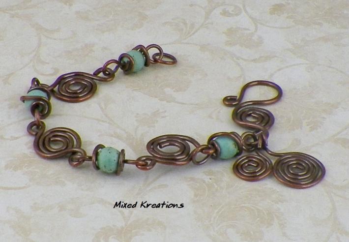 Swirling Copper Magnesite Bracelet