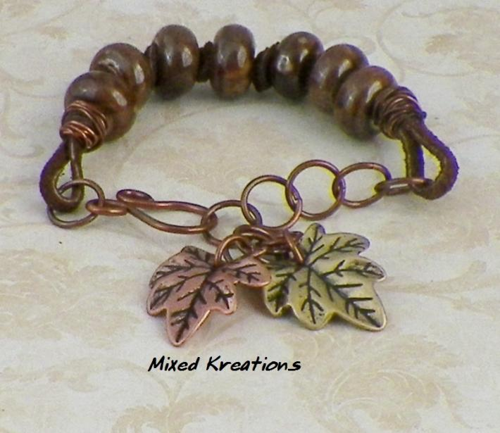 ceramic and leather leaf charm bracelet