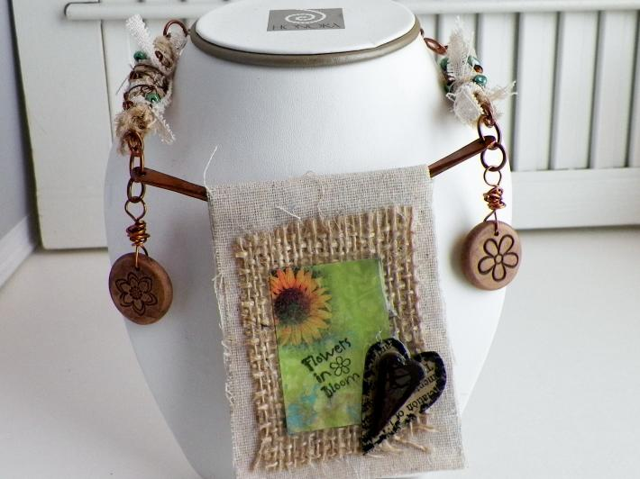 Flowers In Bloom Mixed Media Necklace