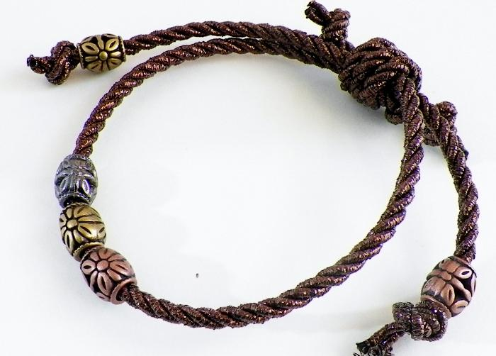 Metallic Cord With Sliding Knot Bracelet