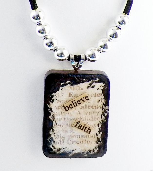 Believe and Faith Wooden Tile Pendant