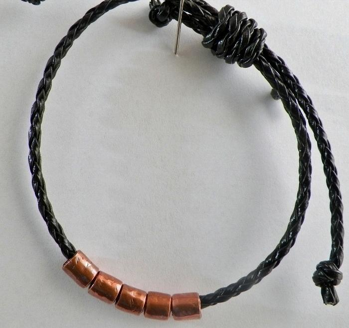 Copper Tube Beads Bolo Leather Bracelet