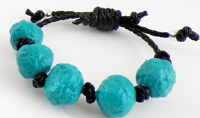 Paper Bead and Leatherette Bracelet