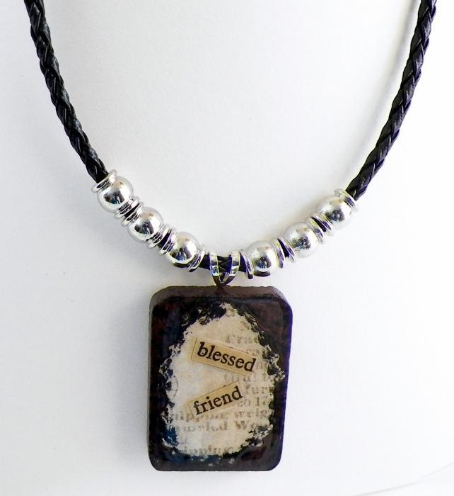 Wood Tile Pendant Necklace