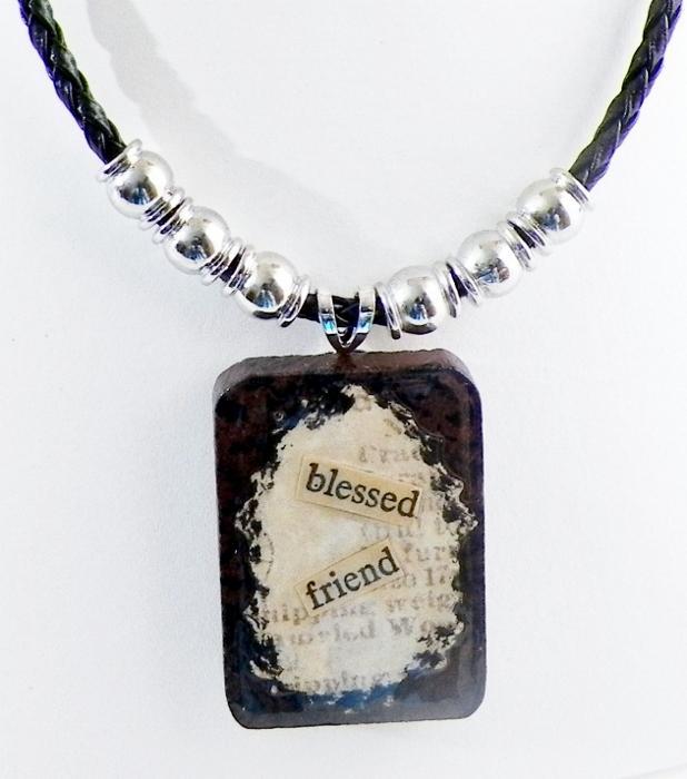 Wood Tile Pendant Necklace
