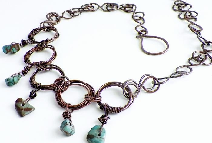 Copper Swirl and Zebra Stone Necklace