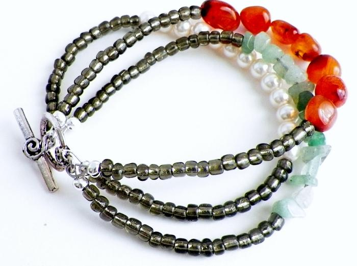 Gemstone and Pearl Multi Strand Bracelet