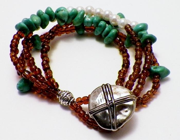 Multi Strand Magnesite and Pearl Bracelet