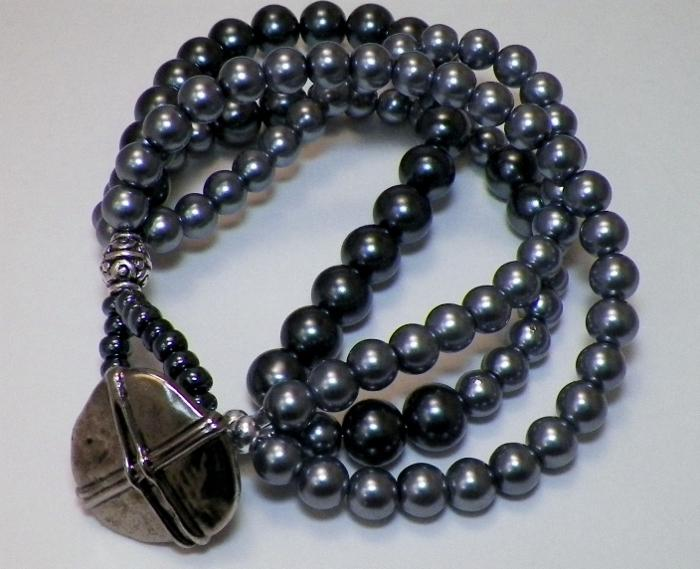 Charcoal and Grey Multi Strand Bracelet