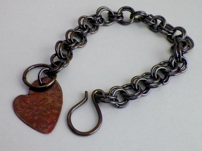 Handcrafted Copper Heart Charm Bracelet