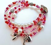 Pink and Pearl Multi Strand Bracelet