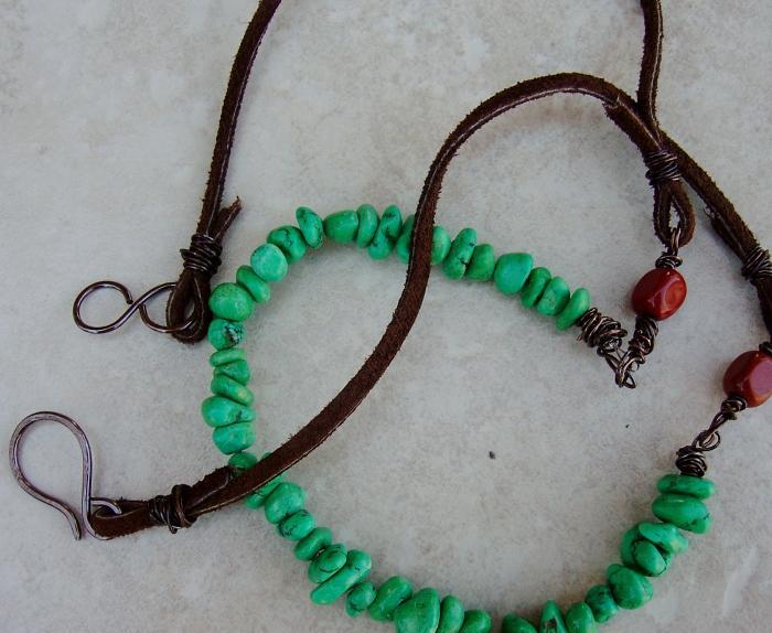Bohemian Leather and Gemstone Wrap Bracelet