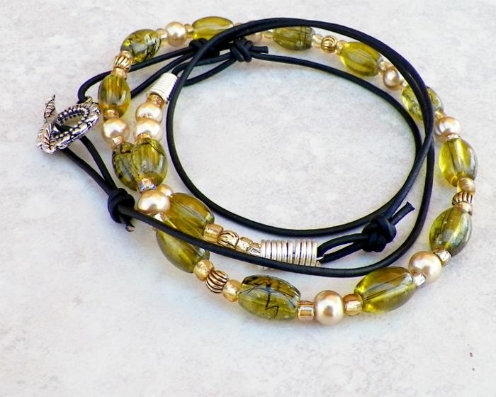 Green Glass and Pearl Leather Wrap Bracelet