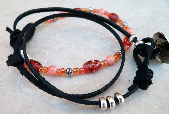 Salmon and Orange Beaded Wrap Bracelet