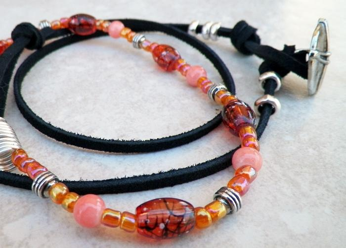 Salmon and Orange Beaded Wrap Bracelet