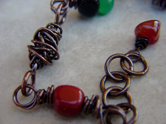 Copper Wire Wrap and Gemstone Bracelet