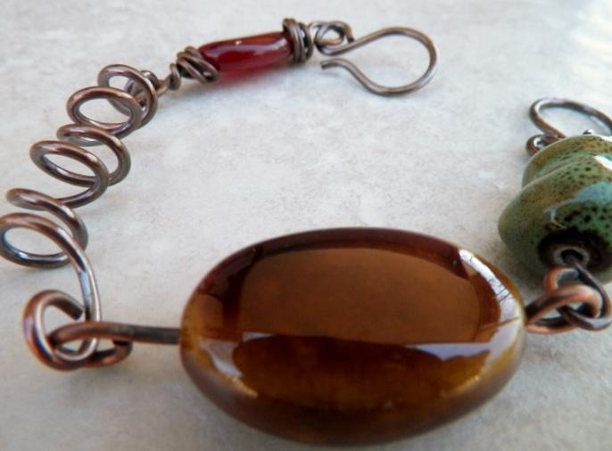 Agate Porcelain and Copper Bracelet