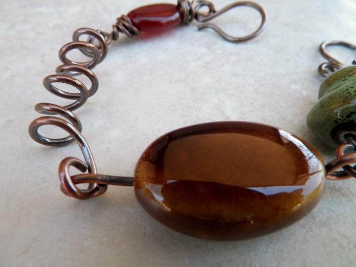 Agate Porcelain and Copper Bracelet