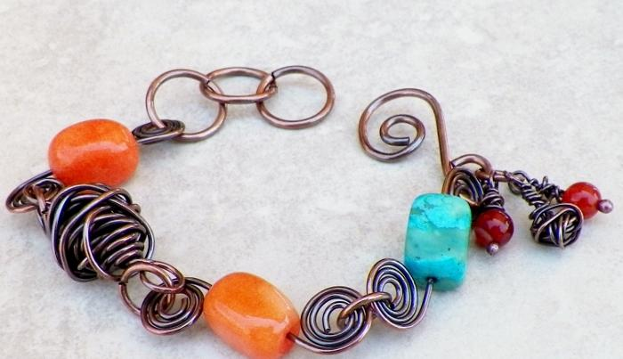Springy Copper and Gemstone Bracelet