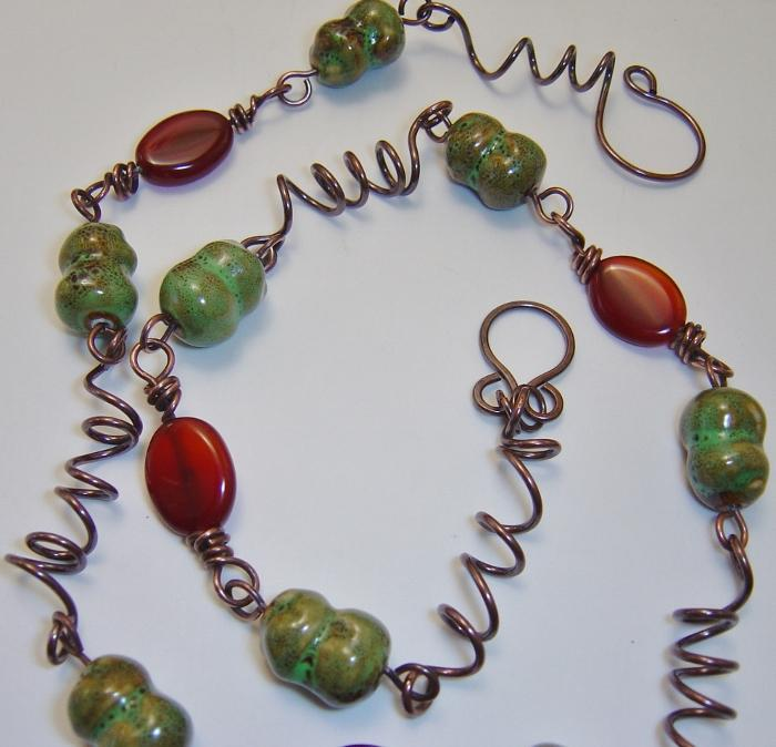 Porcelain and Agate Copper Necklace